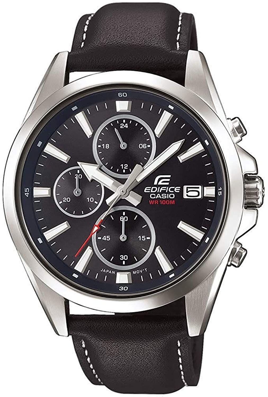 Casio Edifice Chronograph EFV-560L-1AVUEF (44 mm, Edelstahl, Lederarmband, Stoppfunktion, Datumsanzeige, wasserdicht bis 10 bar)