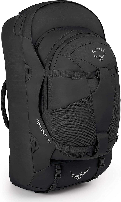 Osprey Farpoint 70 Reise-Rucksack mit abnehmbarem 13-Liter-Daypack (Brustgurt, Hüftgurt, wasserabweisend, Laptopfach) Volcanic Grey S/M