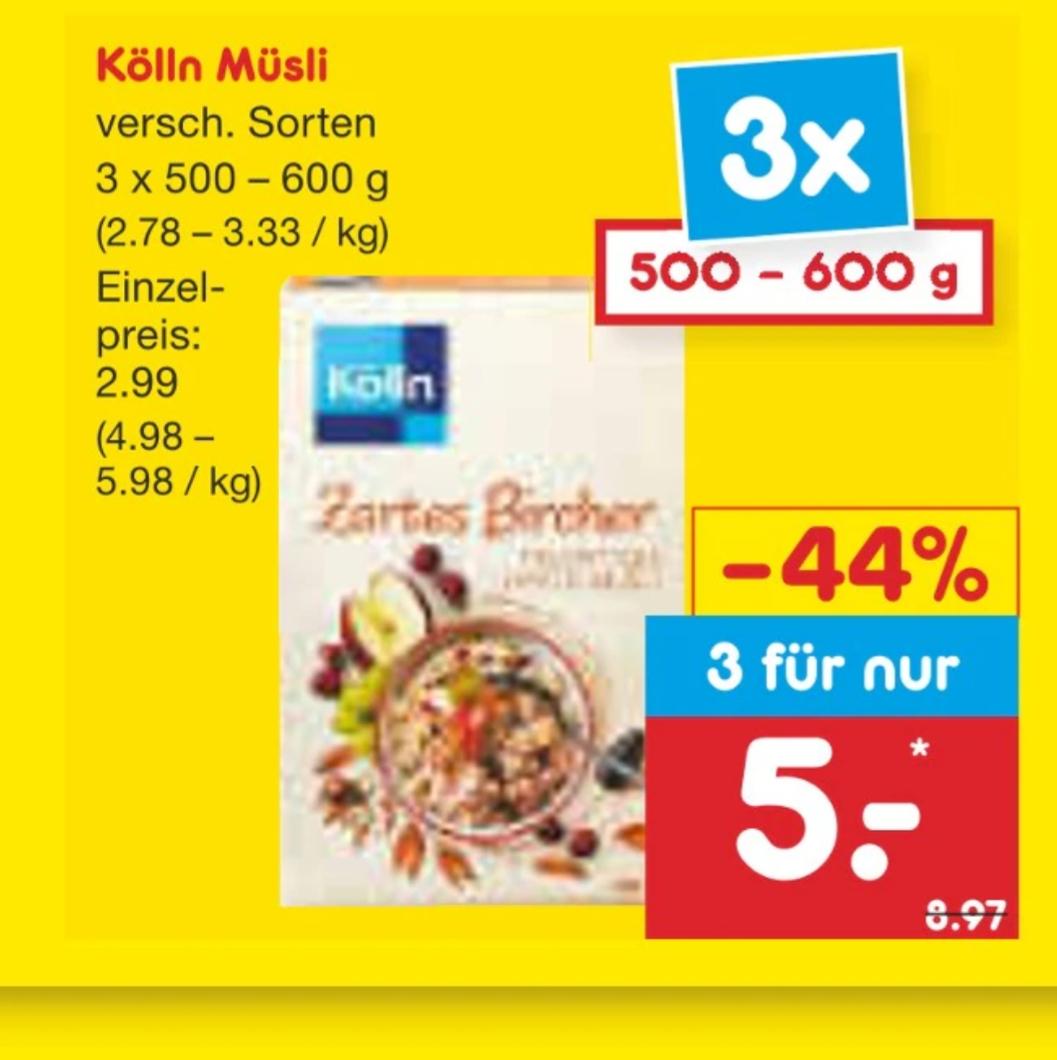 Kölln Müsli bei netto. 3 Päckchen für 5€