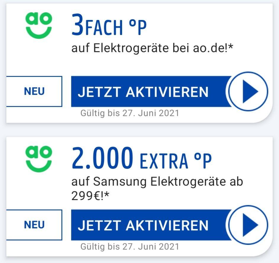 ao 3Fach °P auf Elektrogeräte UND 2000 Extra °P auf Samsung Elektrogeräte ab 299€ eventuell personalisiert