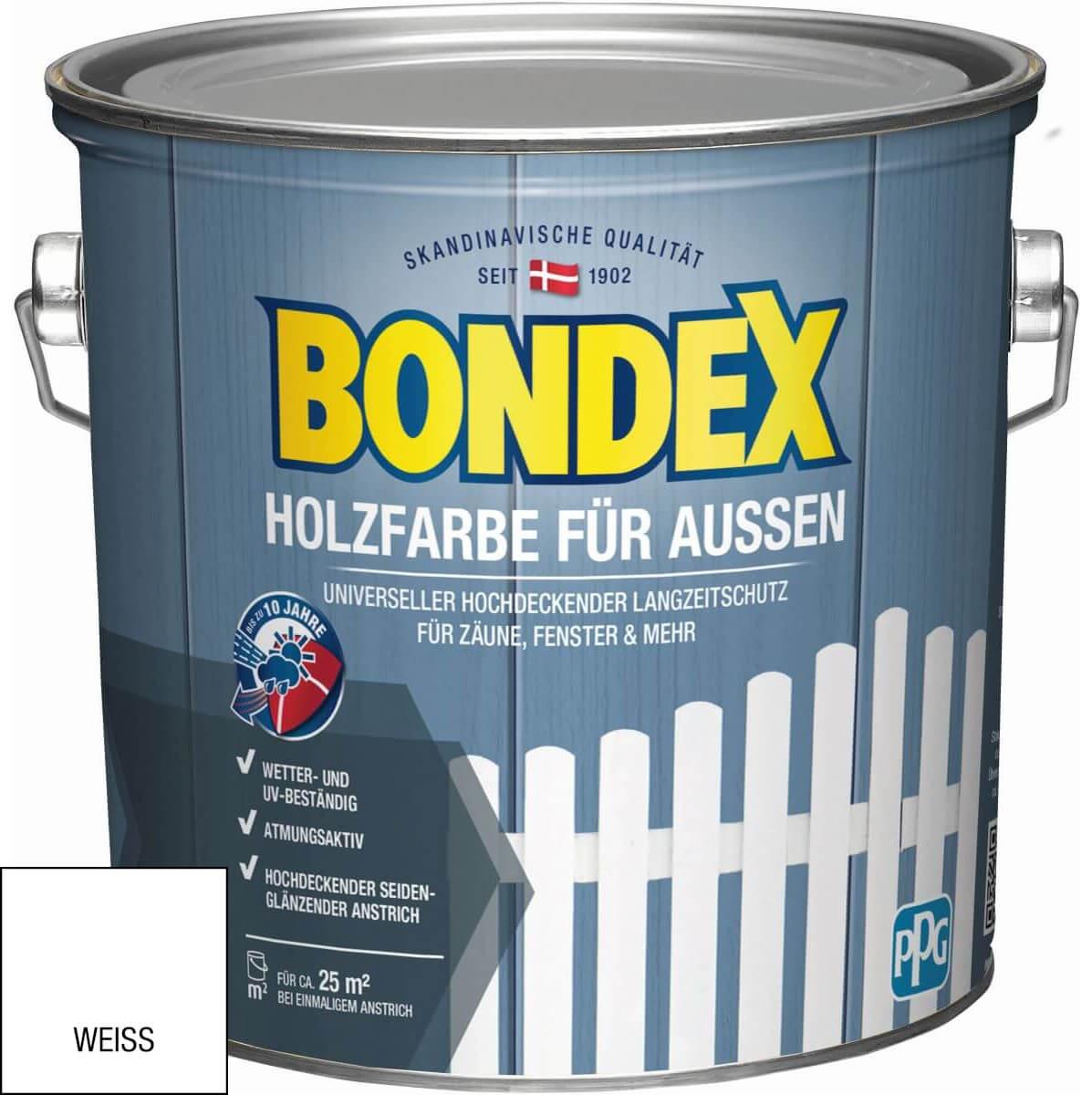 BONDEX 2.5 L Holzfarbe für Außen   Weiß, Schwedenrot, Lichtgrau   Gratis Flächenstreicher mit Rabattcode