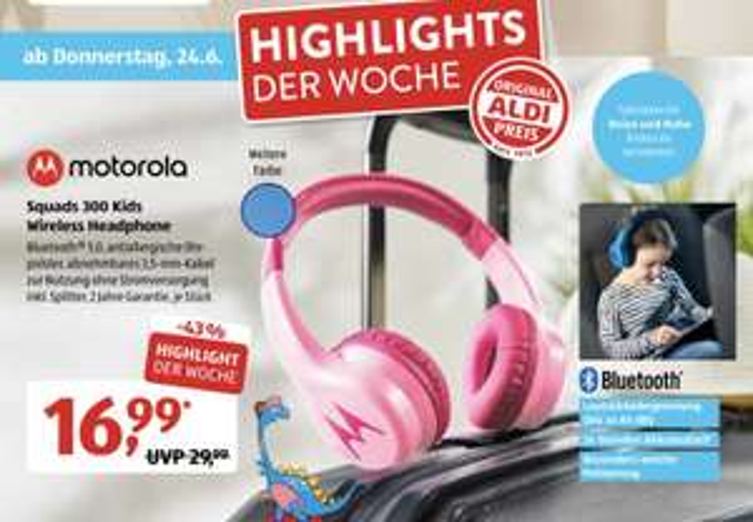 Motorola Squads 300 - Bluetooth Kinderkopfhörer ab 24.06.2021 bei ALDI SÜD