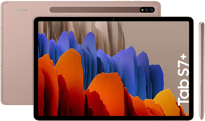 "Samsung Galaxy Tab S7+ Tablet 12.4"""" - 120Hz AMOLED, Snapdragon 865+, 6GB, 128GB, bronze (Amazon.es)"