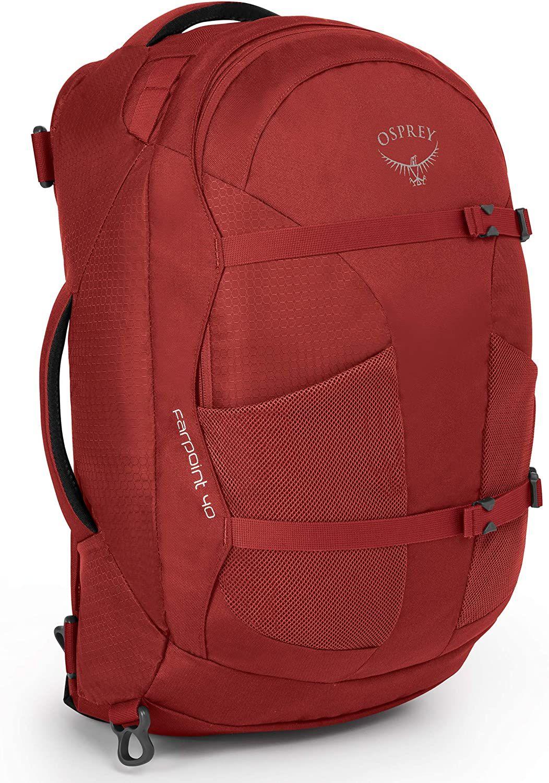 Osprey Farpoint 40 M-L oder S-M - Reise-Rucksack (Travel-Backpack, Handgepäck, Brustgurt, 40 Liter) Jasper Red // in Vulcanic Grey 54,22€