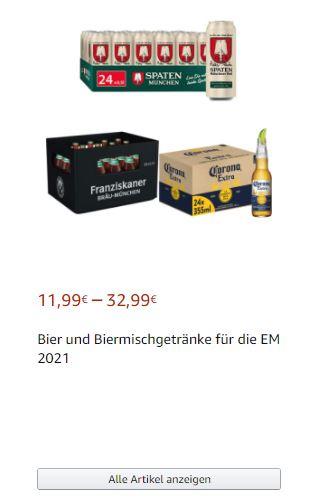 (Prime) Bier-Angebote bei Amazon, z.B. Spaten Hell , Franziskaner Helles, Corona Extra, Leffe, Beck's, Hard Seltzer, uvm