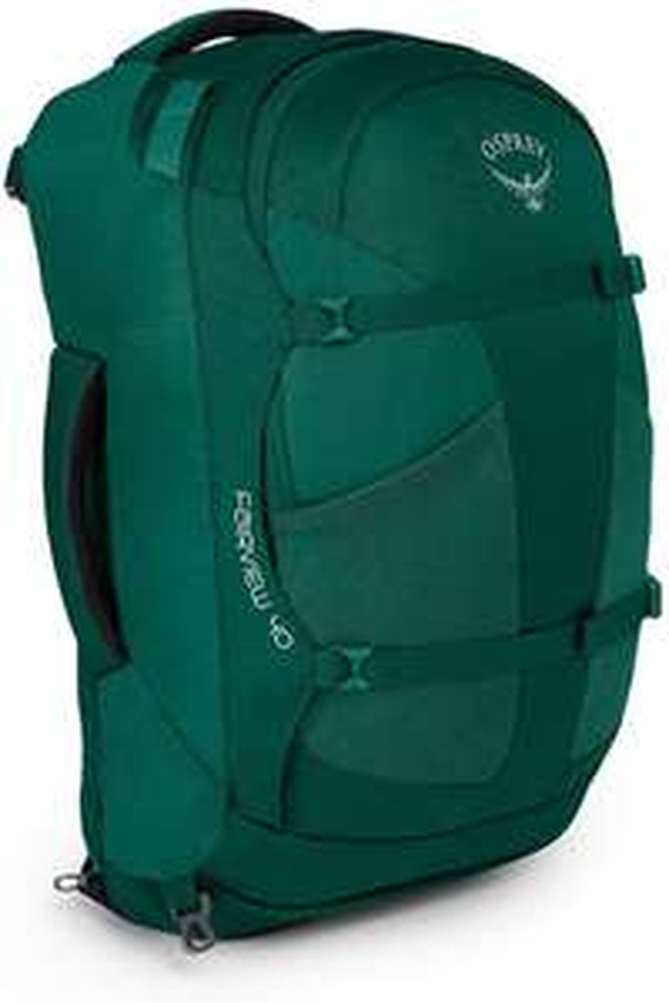 Osprey Fairview 40 Women's Travel-Backpack (Reise-Rucksack, Handgepäck, 40 Liter, Hüft- & Schultergurt) in Rainforest Green & Misty Grey