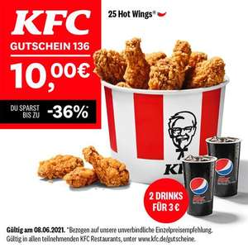 KFC Gutscheine ab 08.06. bis zum 11.07.