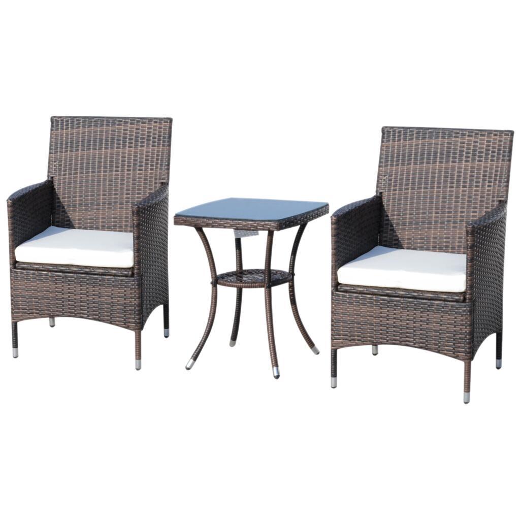 Outsunny Rattan-Sitzgruppe in braun als 3-teiliges Set (zwei Stühle und ein Tisch)