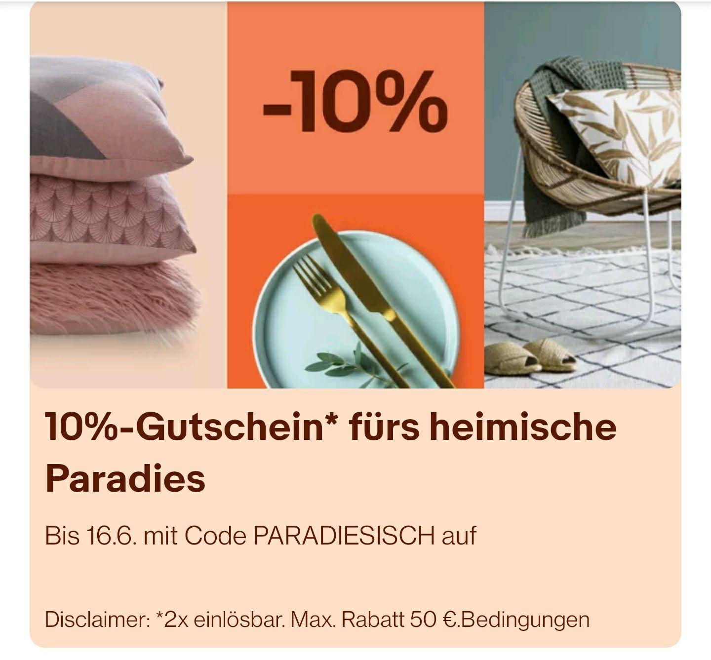 10% auf Möbel, Deko, Beleuchtung bei eBay