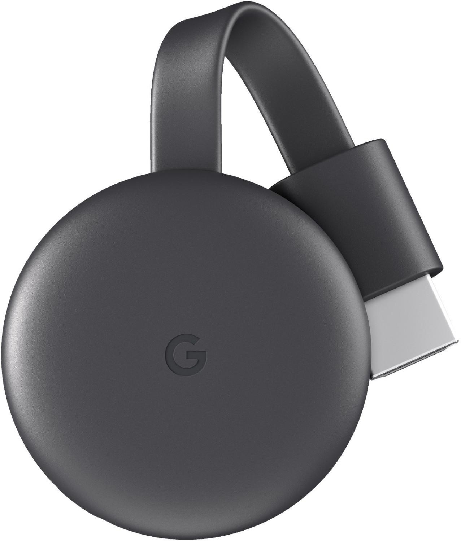 Google Chromecast 3 Streaming-Player (2018er-Version, 1080p @ 60fps, WLAN 2.4/5Ghz, HDMI, Micro-USB, 52x52x14mm, 40g)