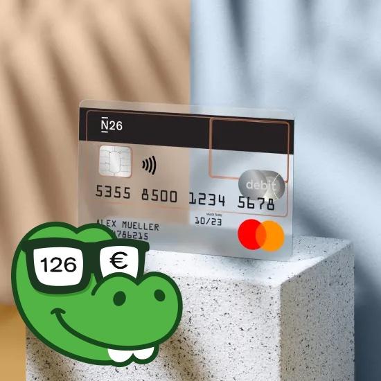 126€ Neukundenbonus für N26-Kontoeröffnung: z.B. kostenloses N26 Standard Girokonto (Voraussetzung: Kartentransaktion + 3 Gehaltseingänge)
