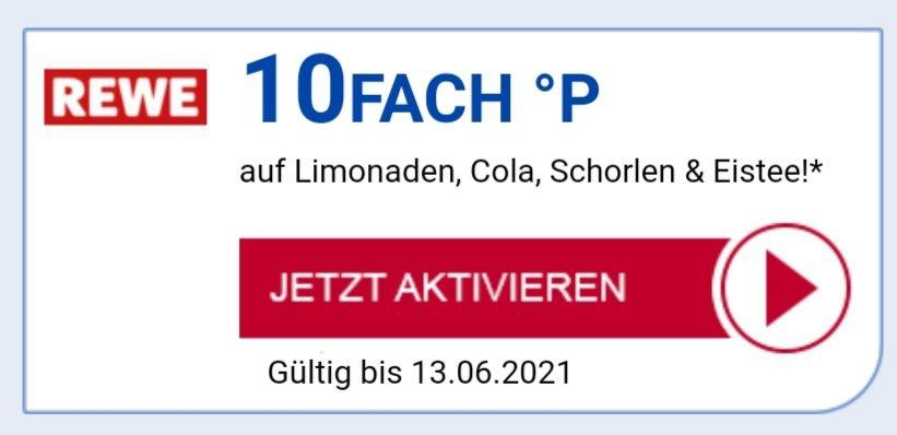 10Fach °P auf Limonade, Cola, Schorle und Eistee bei REWE bis 13.06 eventuell personalisiert