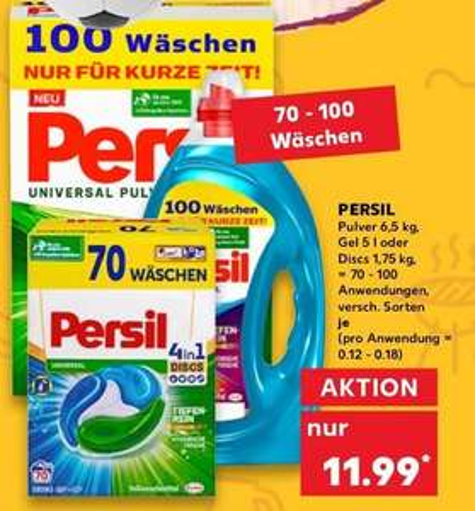 Kaufland: Persil Pulver 6,5 Kg; Gel 5 L oder Disks 1,75 Kg