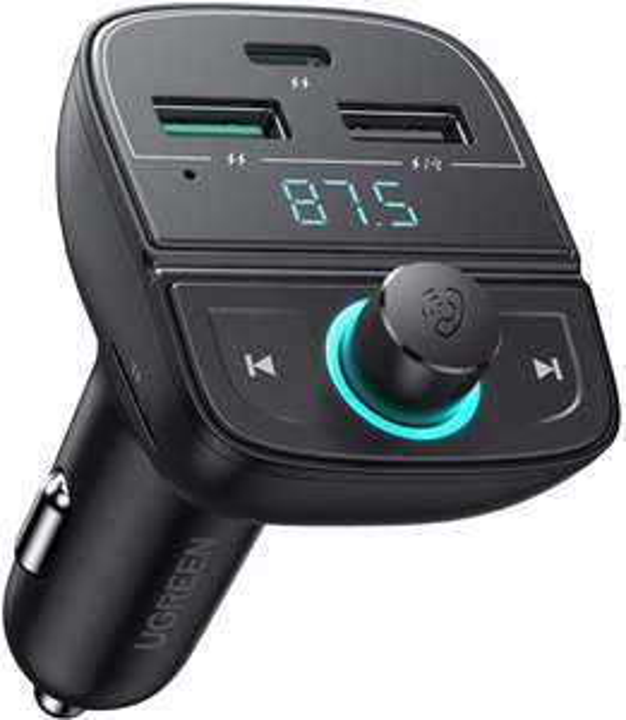 [Prime] Ugreen 80910 Bluetooth FM-Transmitter & Ladegerät (USB-C PD bis 20W & USB-A QC bis 18W, USB- & SD-Slot für Musik)