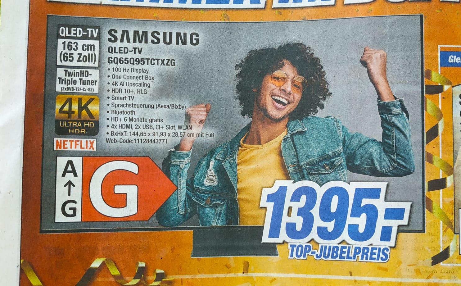 Samsung GQ65Q95T QLED TV 65 Zoll, 4K UHD, Sprachsteuerung, Aufnahmefunktion - UPDATE: teilweise 1199,- möglich!