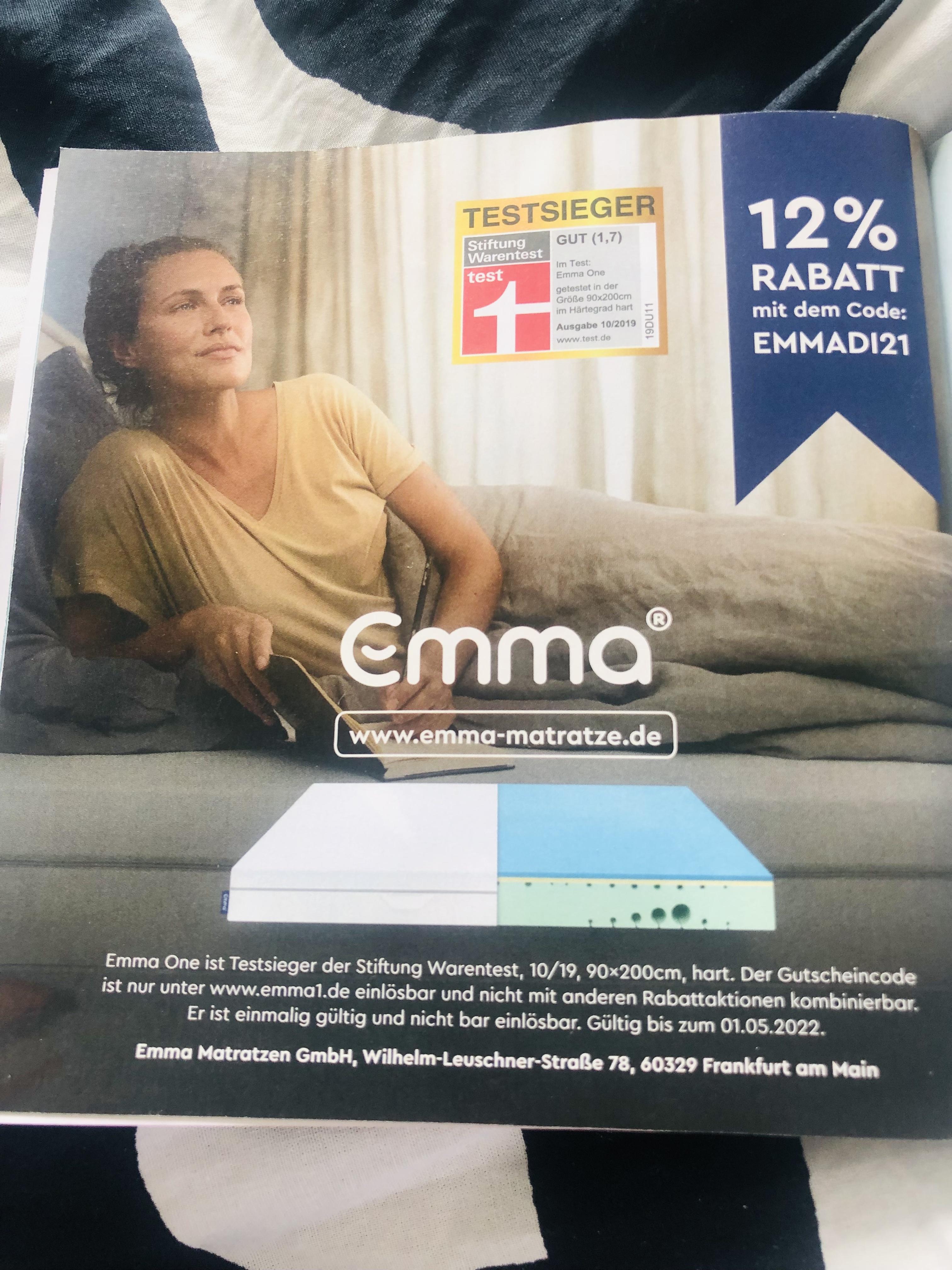 12% auf Emma Matratzen