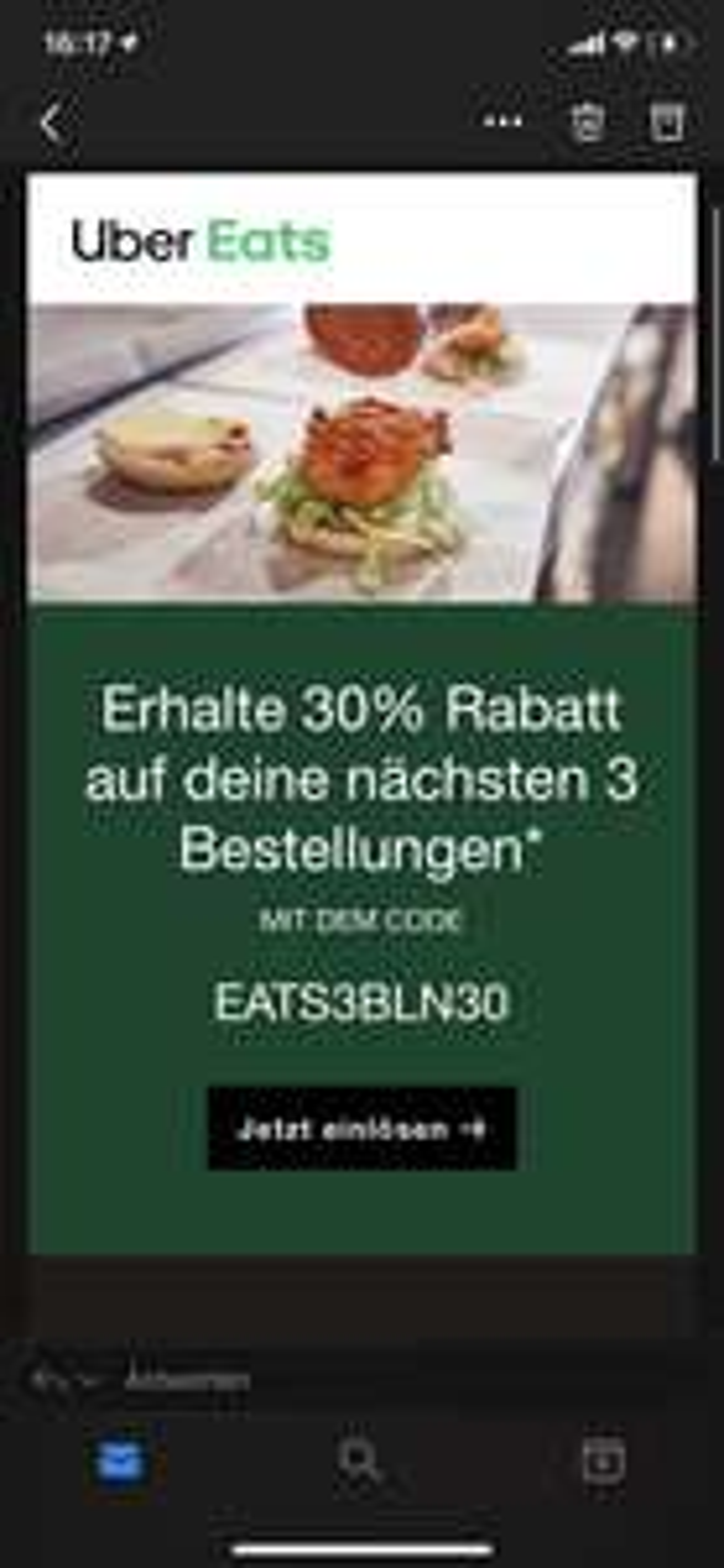 [Lokal Berlin] 3x 30% Rabatt bei Uber Eats