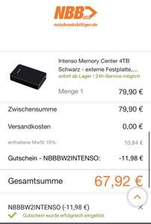 [NBB Black Week] Intenso Memory Center 4Tb