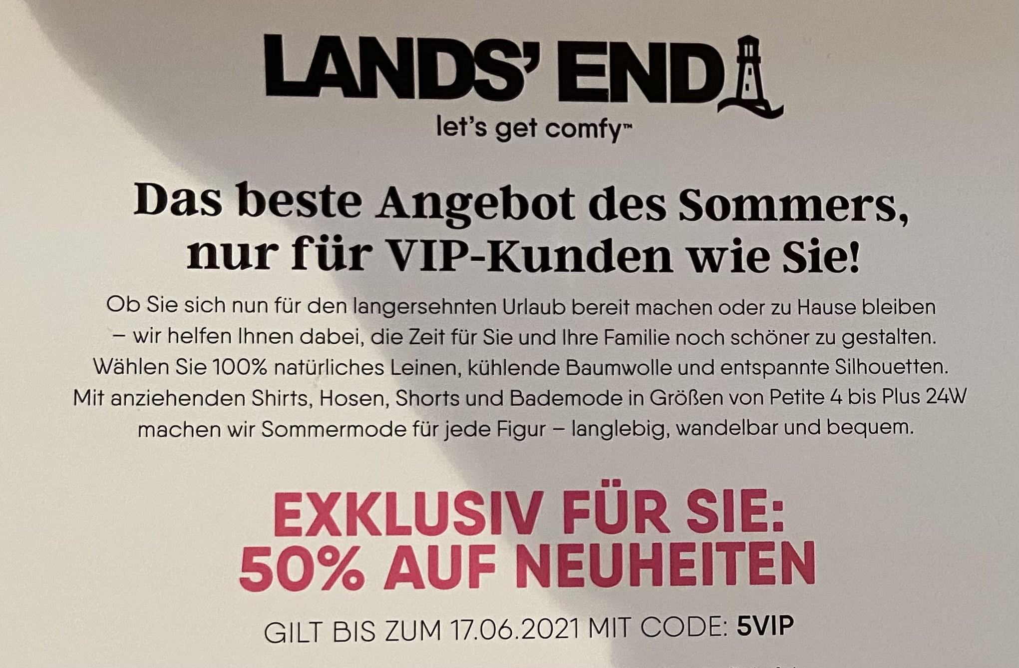 50% Lands' End Gutscheincode auf Neues