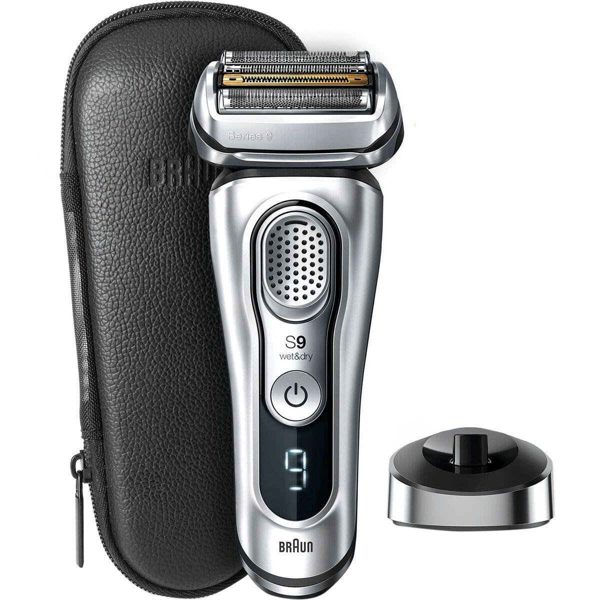 Braun Series 9 9359s Elektrischer Rasierer mit 20% längerer Akku-Laufzeit, Premium Edition in silber, Ladestation, Leder-Etui, Wet&Dry