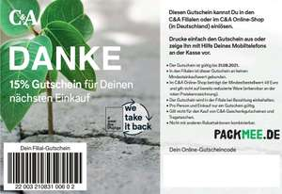 [C&A] packmee Coupon 15% bis 31.08., nur offline