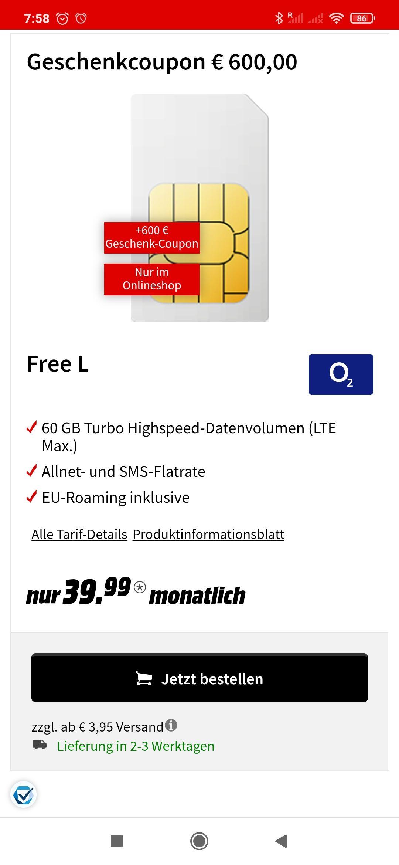 MediaMarkt O2 Free L mit 60GB effektiv 15,99€/monatlich mit 600€ Coupon + von Shoop 20€