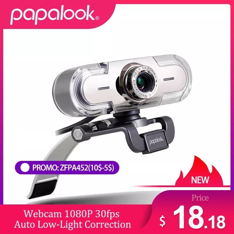 Webcam 1080P Full HD Web Cam, PAPALOOK PA452 Web Cam Manueller Fokus mit MIC, video Aufruf und Aufnahme für Computer Laptop