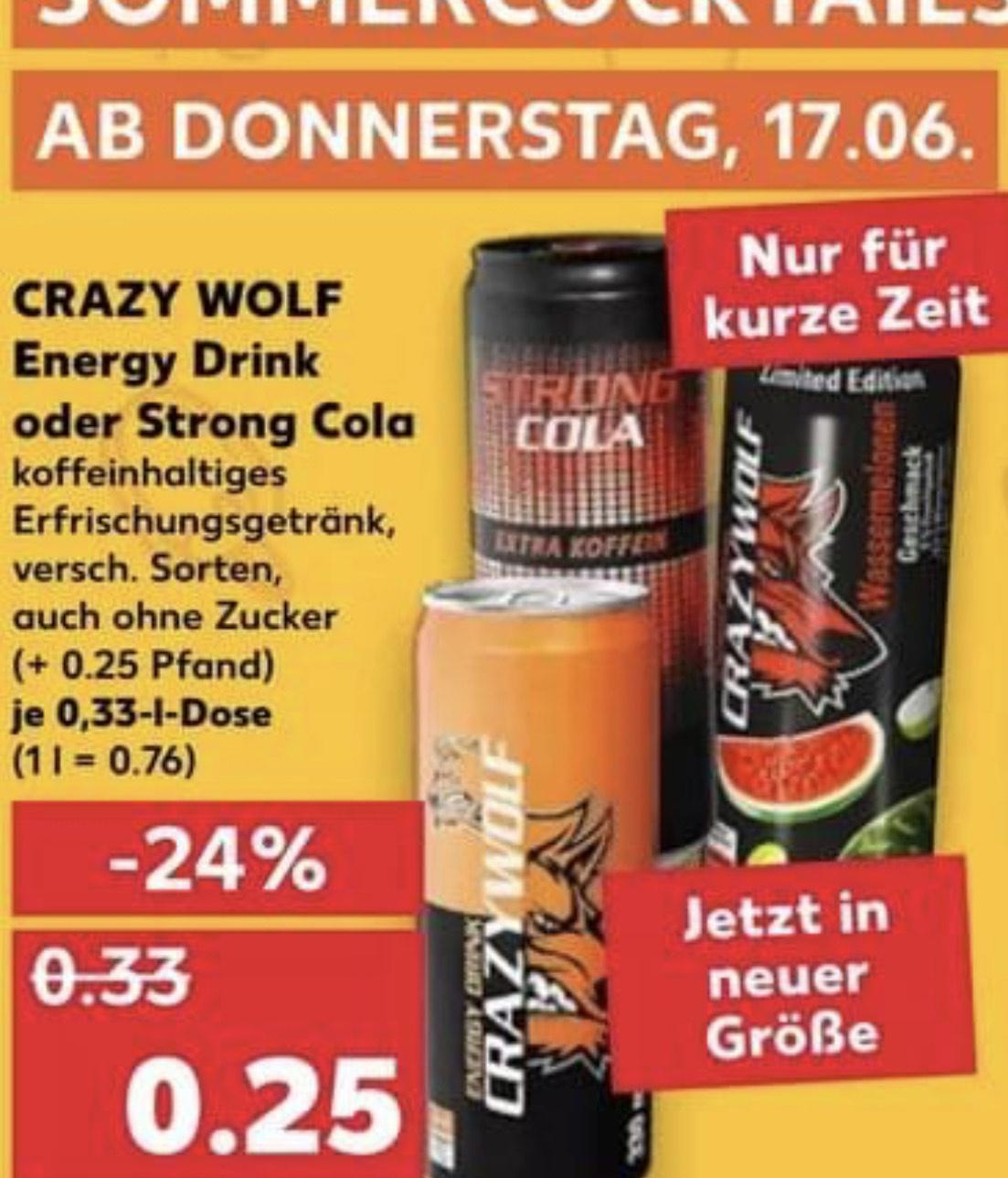 Crazy Wolf - Energy Drink o. Strong Cola je 330ml für 0,25€ [Kaufland]