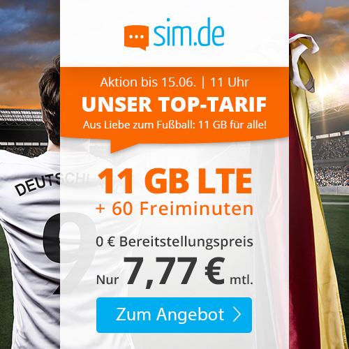 11GB LTE Tarif von sim.de für mtl. 7,77€ (60 Freiminuten, VoLTE, WLAN Call, 3 Monate Kündigungsfrist) im Telefonica-Netz