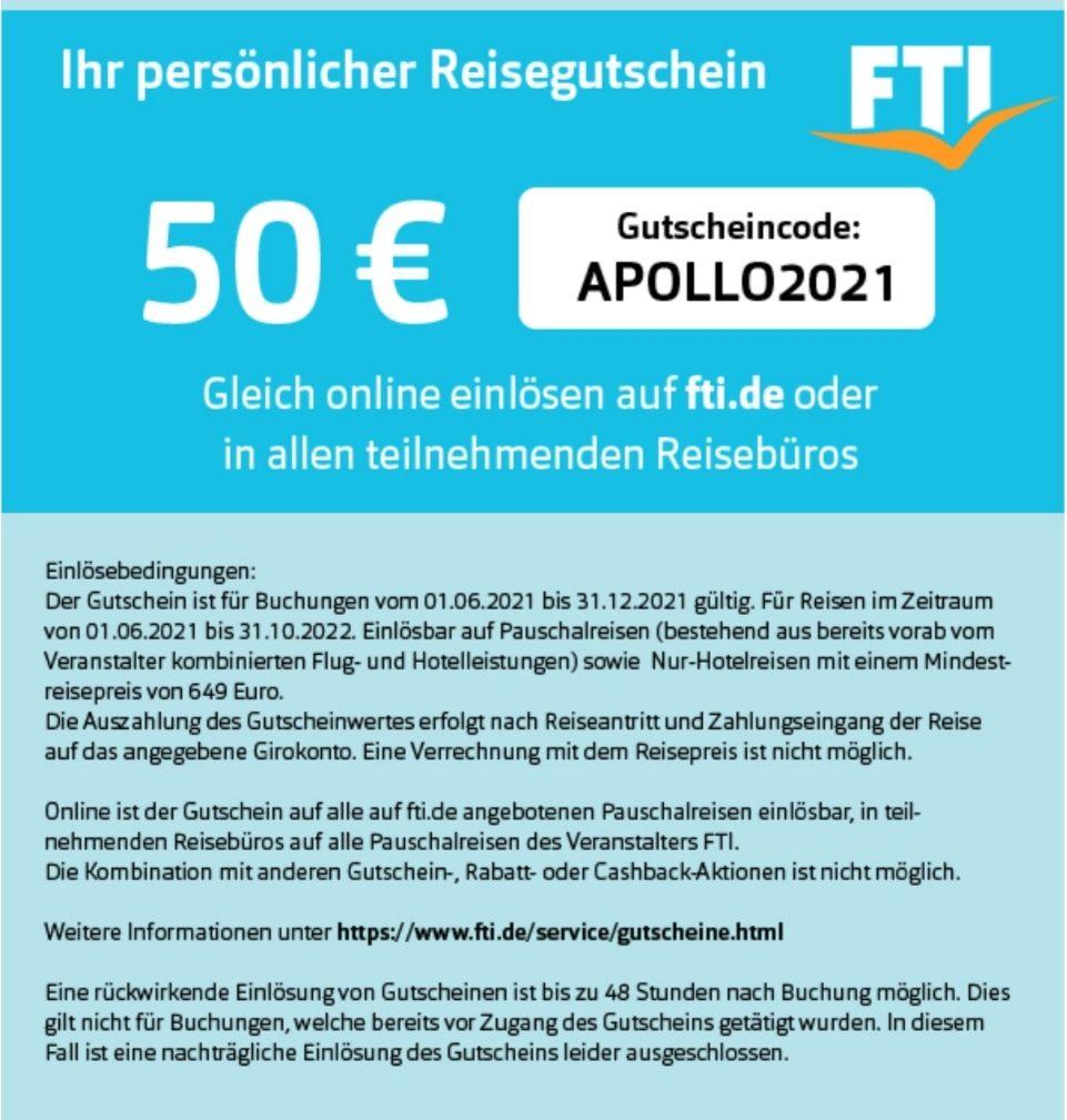 [FTI Reisen] 50€ Cashback bei Buchung ab 649€ bis Oktober 2022