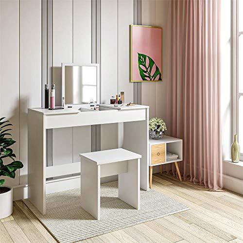Schminktisch inkl. klappbarem Spiegel und Stuhl, weiß, 100 * 45 * 76cm @Amazon Marketplace