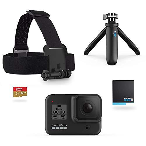 GoPro HERO8 Black Bundle - inklusive Shorty Stativ, Speicherkarte, Kopfbügel und Akku