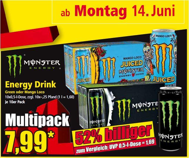 Monster Energy Drink, 10 x 0,5 Liter (Green oder Mango Loco) für 7,99 Euro [Norma Süddeutschland]