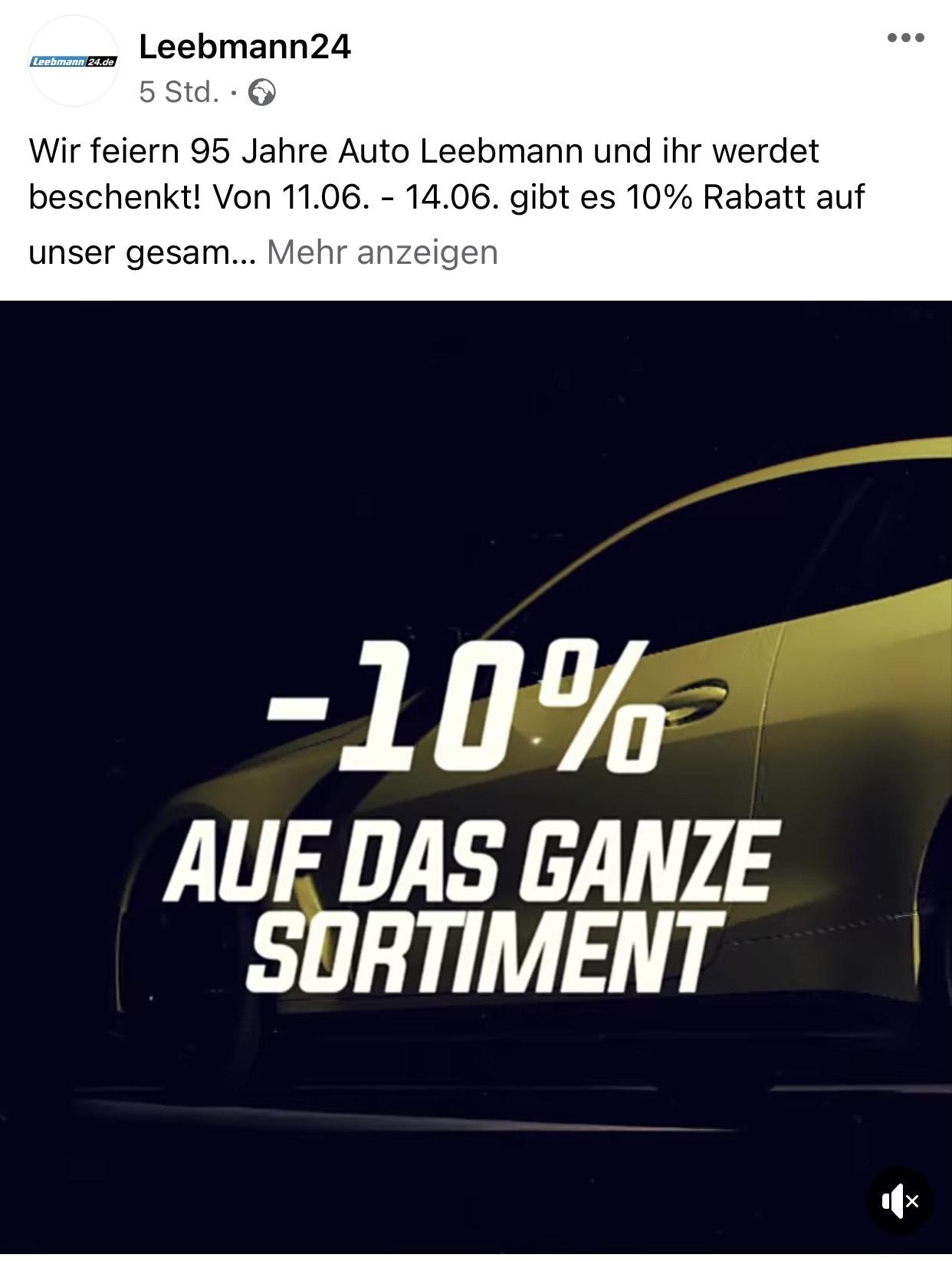 Leebmann24 feiert 95 Jahre Auto Leebmann! 10% Rabatt auf das gesamte Sortiment!