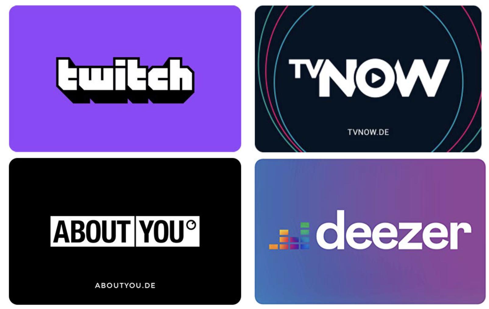 15% Rabatt auf Twitch, TV Now, ABOUT YOU / 20% Rabatt auf DEEZER Geschenkkarten / 33% auf Waipu.TV und weitere (mit Prime)