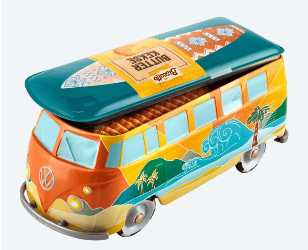 Aldi Nord VW Bus Bulli Blechdose mit Keksen für Sammler und Volkswagen-Campervan Fans
