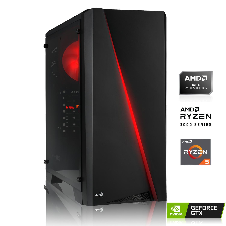 Einstiegs-Gaming-PC: Ryzen 5 3500X, 2x 8GB DDR4-3000 RAM, 256GB PCIe SSD, GeForce GTX 1650 4GB, A320, 600W 80+, ohne Windows, 2J Garantie