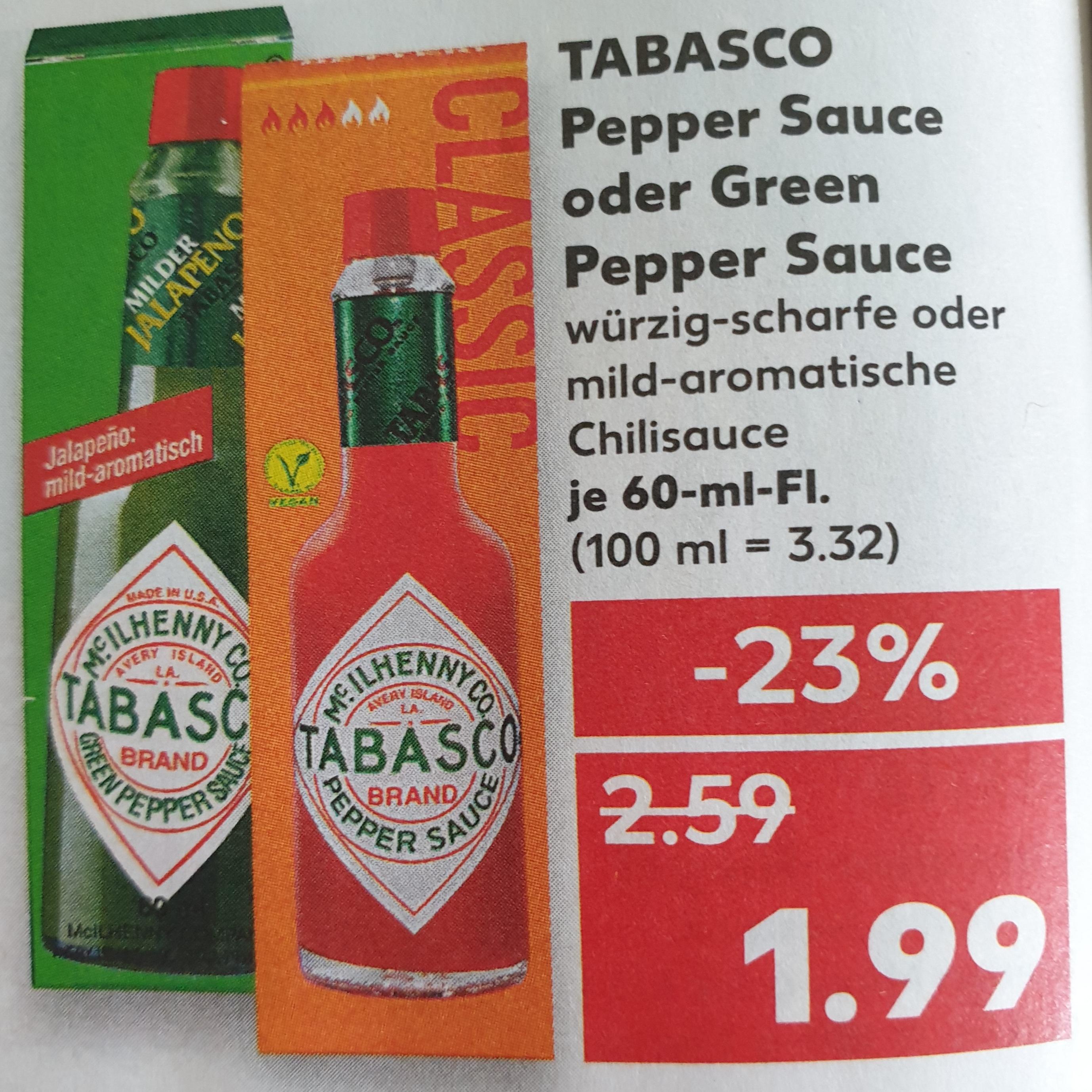 [ Kaufland ] Tabasco 60ml versch. Sorten für je 1,99€