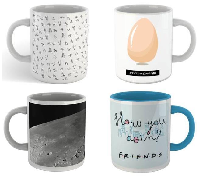 4 Tassen für 16,99€ versandkostenfrei (4.859 Motive zur Auswahl z.B. Harry Potter, Rick & Morty, Friends, DC uvm.)