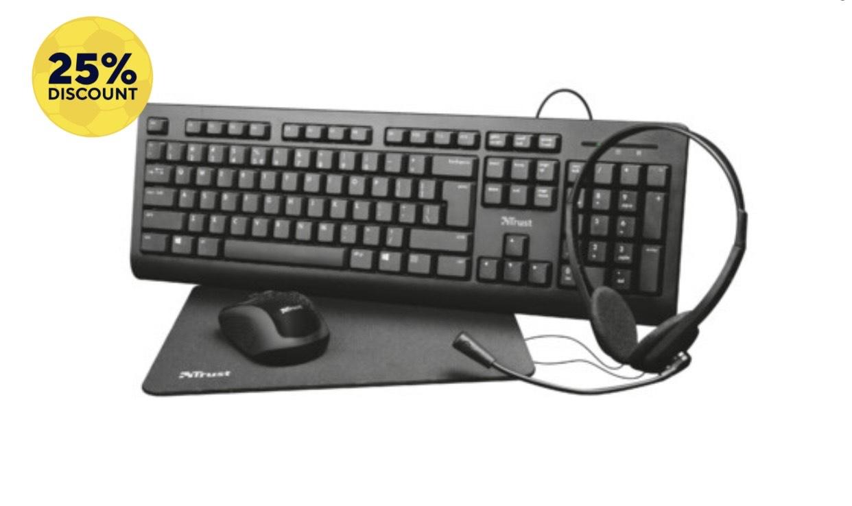 TRUST Primo 4-in-1 Home Office Set (Tastatur + Funkmaus + Headset + Mauspad)