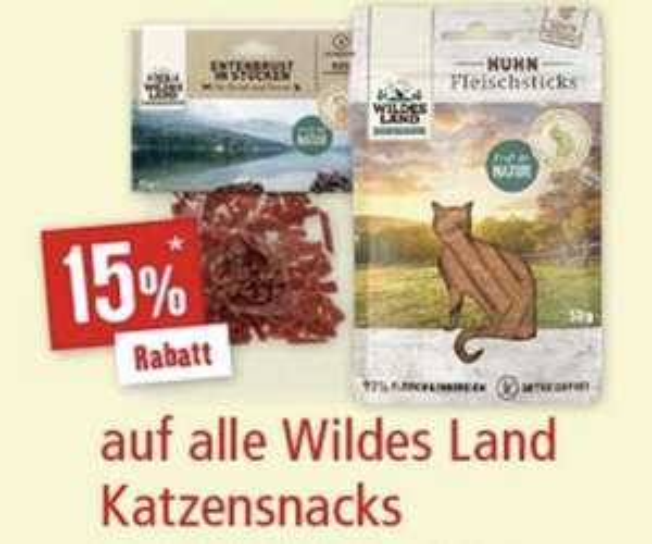 15% Rabatt auf Katzensnacks von Wildes Land