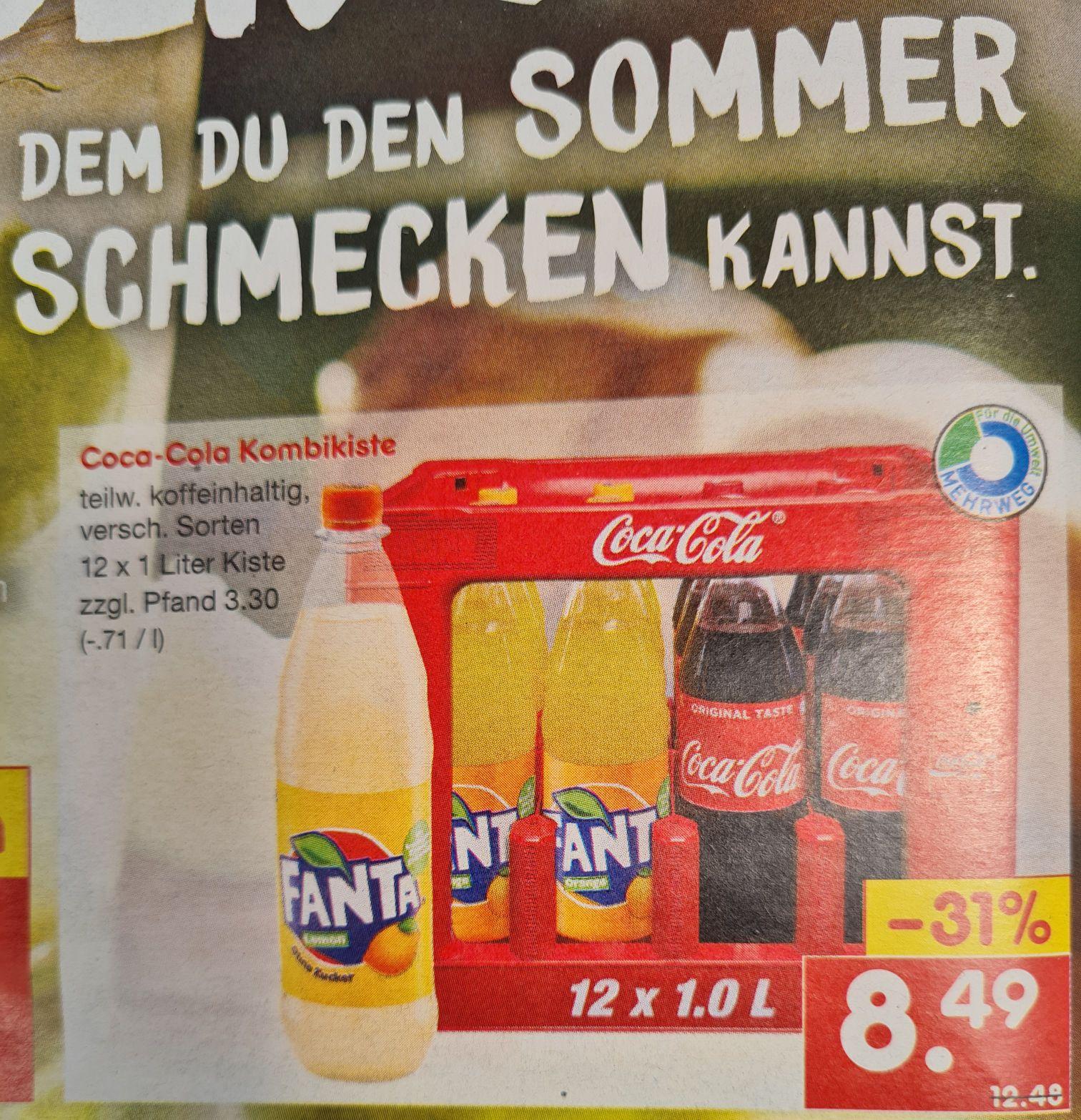 Coca-Cola Kombikiste 12x1 Liter verschiedene Sorten Und Coca-Cola Dosen 18x0,33 l für 5,99€ statt 10,49€ ab 14.06 Netto MD