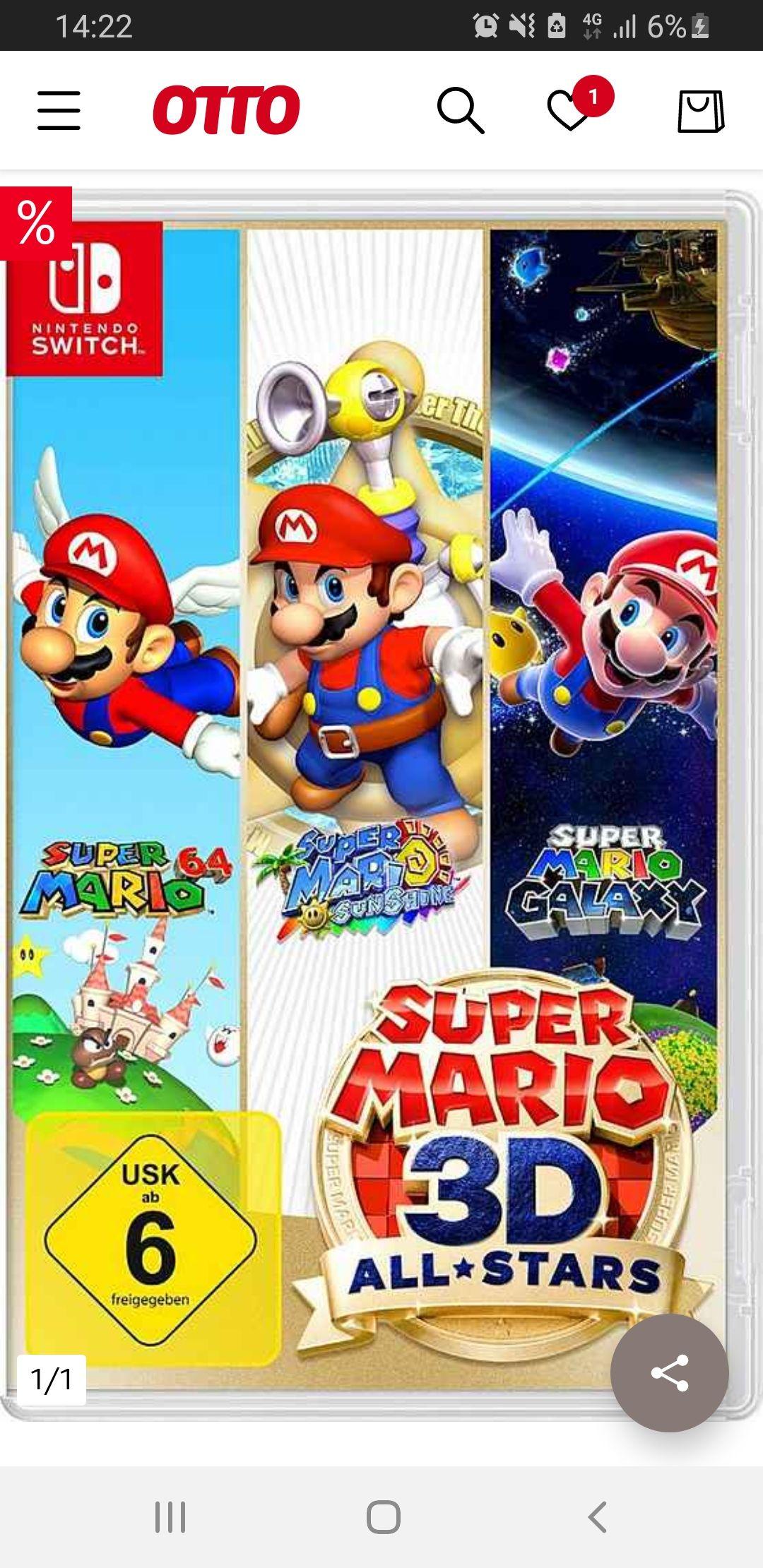 Super Mario 3D: All Stars - Nintendo Switch - (mit Otto Lieferflat 39,99€)