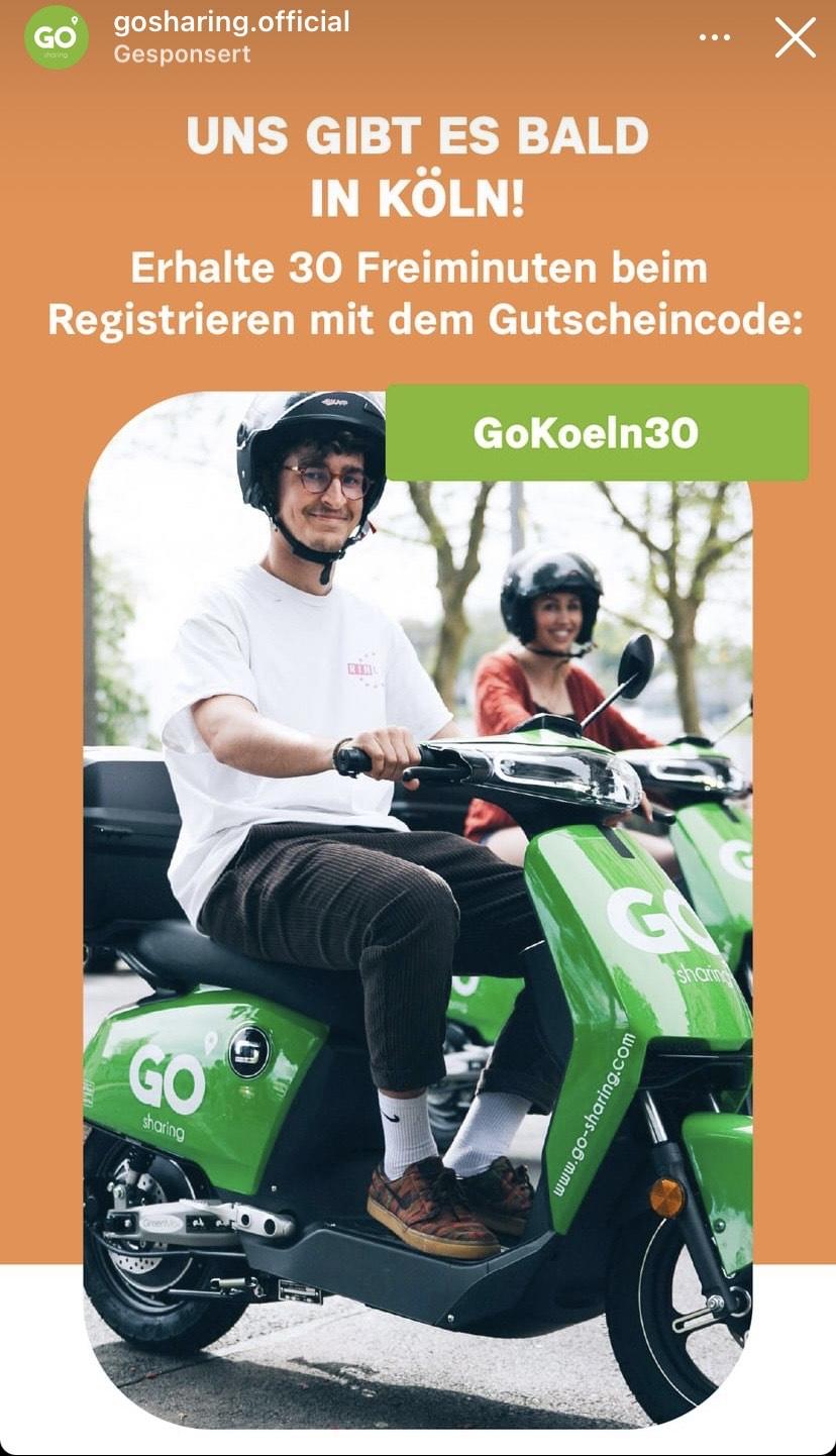 (LOKAL Köln) 30 Minuten kostenfrei E-Scooter von GoSharing nutzen