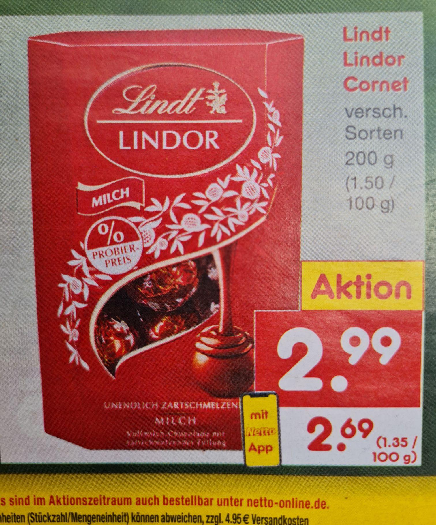 Lindt Lindor Cornet 200 g mit Netto App 2,69€ (13,45 kg) verschiedene Sorten ab 14.06 Netto MD