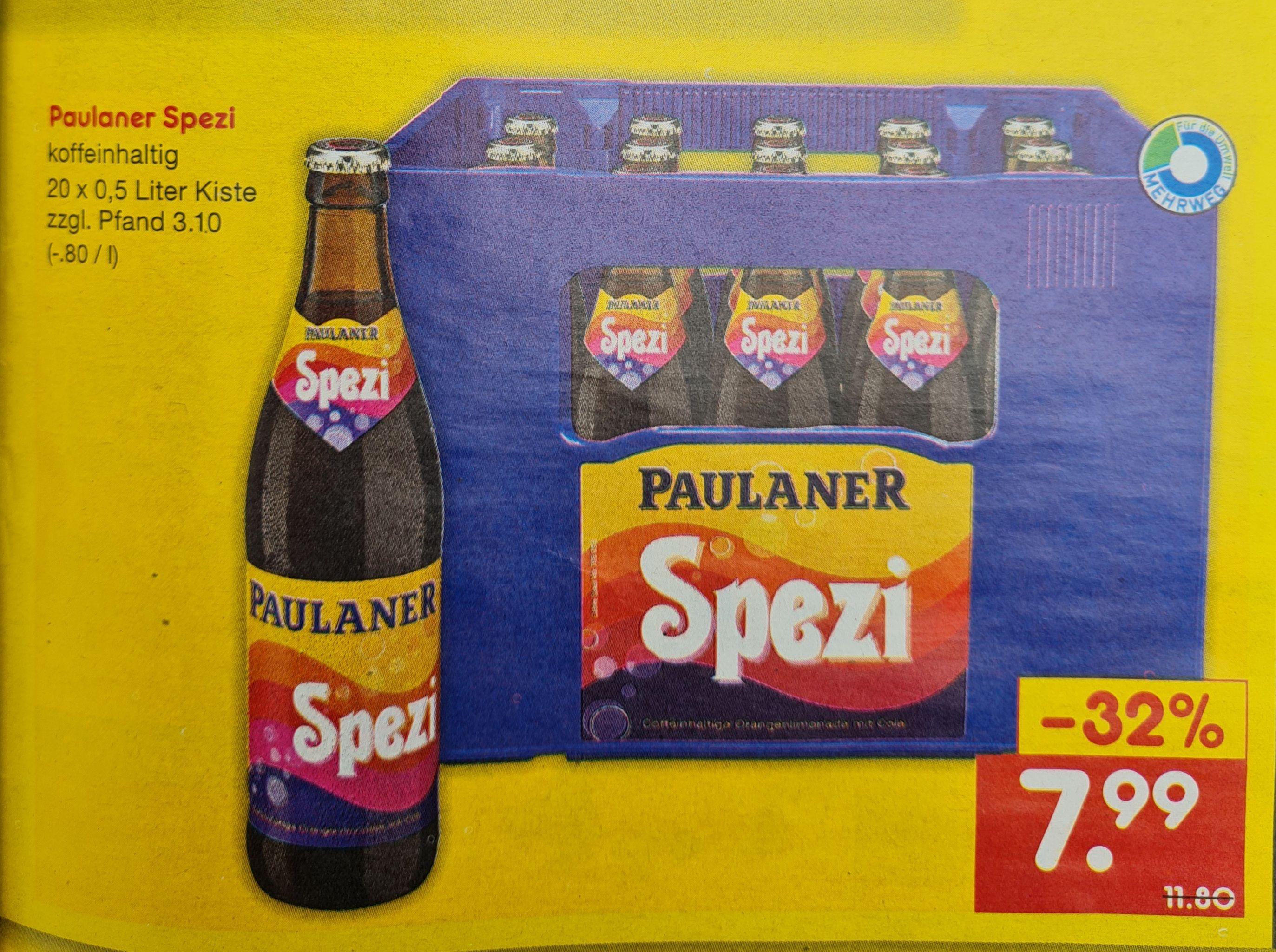 Paulaner Spezi 20x0,5 Liter Kiste zzgl Pfand. 3,10€ ab 17.06 Netto MD