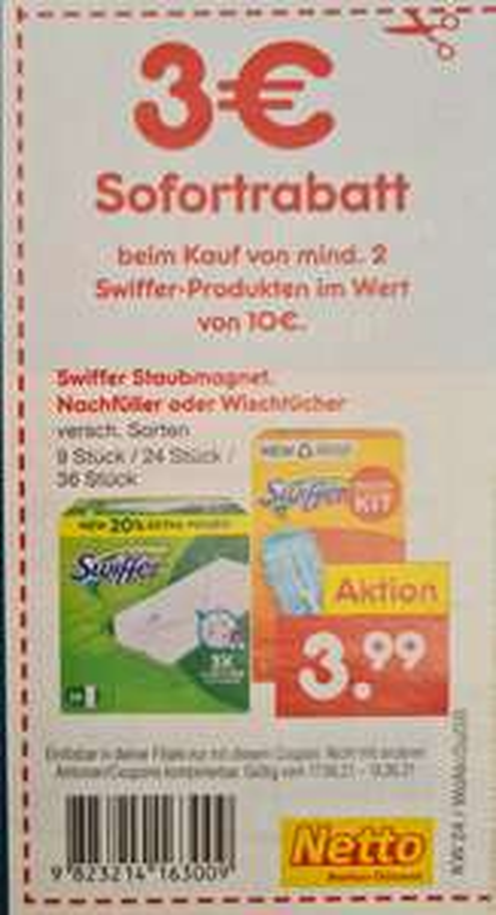 3 Euro Sofortrabatt beim Kauf von mindestens 2 Swiffer Produkte im Wert von 10 Euro ab 17.06 Netto MD