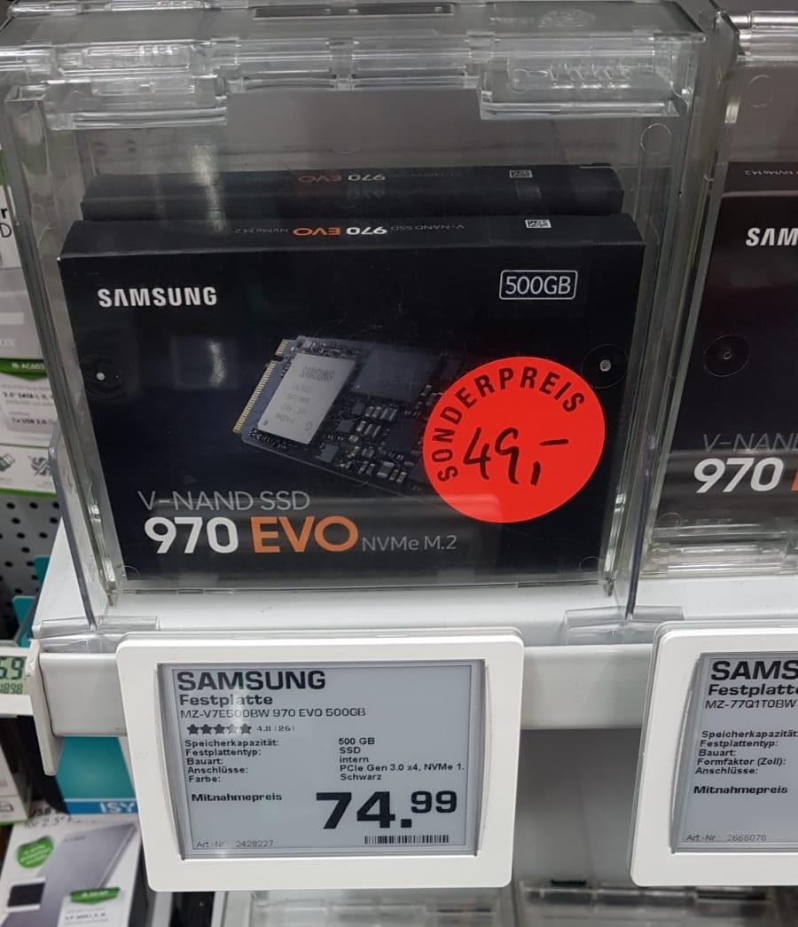 [lokal Wuppertal] Samsung 970 EVO 500 GB NVMe M.2 SSD