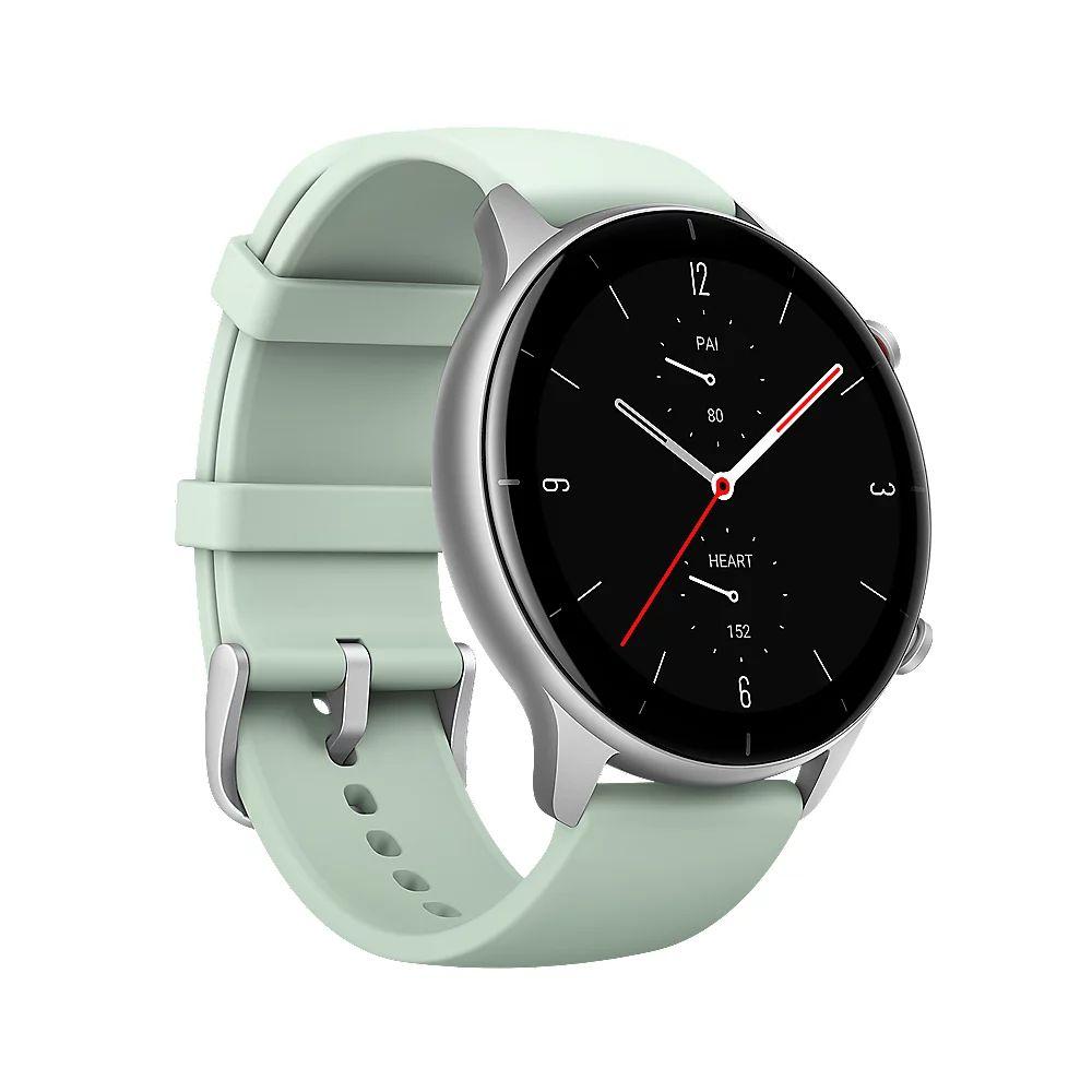 Amazfit GTR 2e Smartwatch GPS HR-Sensor Alu-Gehäuse silber, Armband grün [Cyberport]
