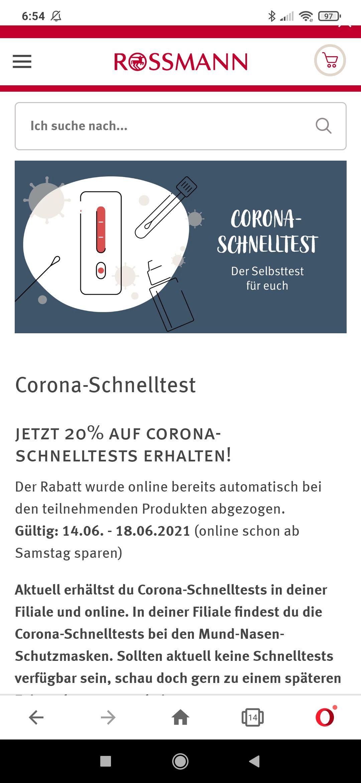Rossmann 3,16 €/63 Cent für 5 covid Antigen Schnelltests ab Montag in den Filialen: 2,84€/57 Cent -10% Copouns möglich!